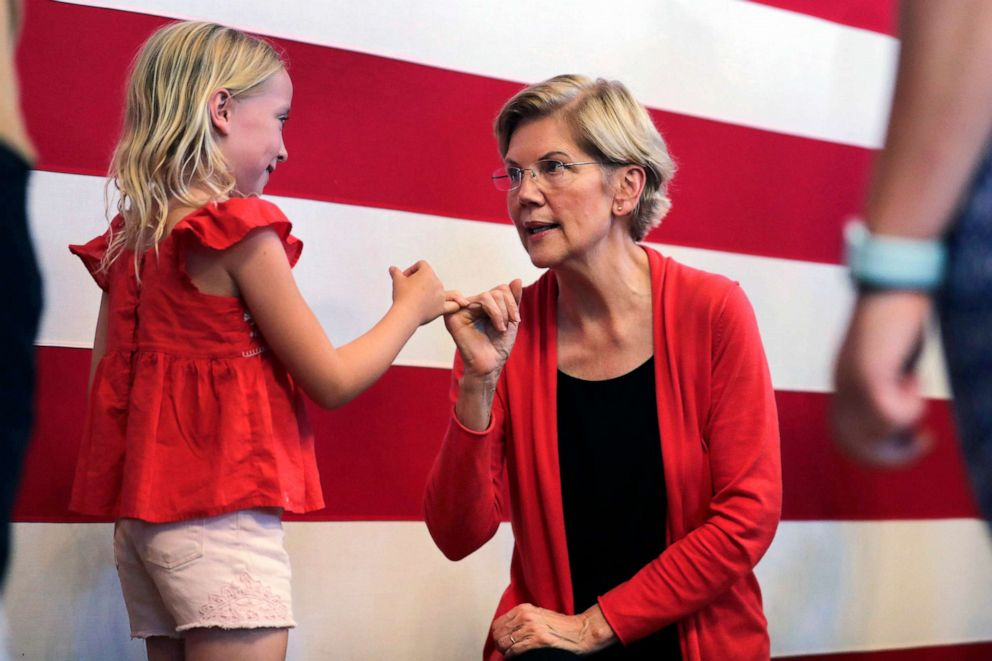 PHOTO: Democratic presidential candidate Sen. Elizabeth Warren makes a pinky promise as she chats with Sydney Hansen, 8, of Oakland, Calif., during a campaign stop at town hall in Peterborough, N.H., July 8, 2019.