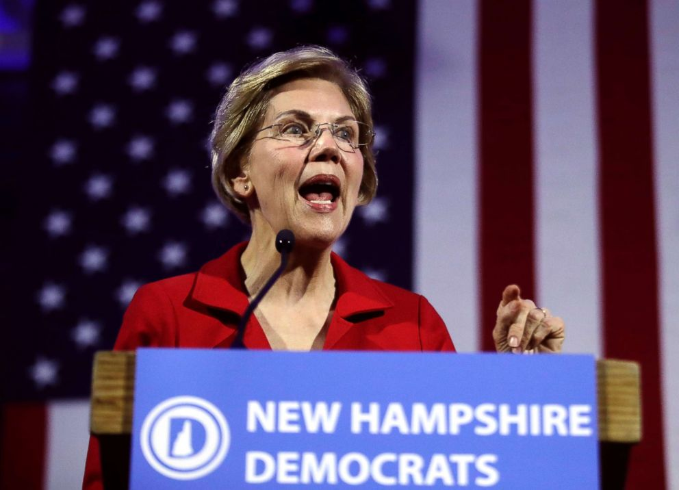PHOTO: Democratic presidential candidate Sen. Elizabeth Warren speaks at the New Hampshire Democratic Partys 60th Annual McIntyre-Shaheen 100 Club Dinner, in Manchester, N.H., Feb. 22, 2019.