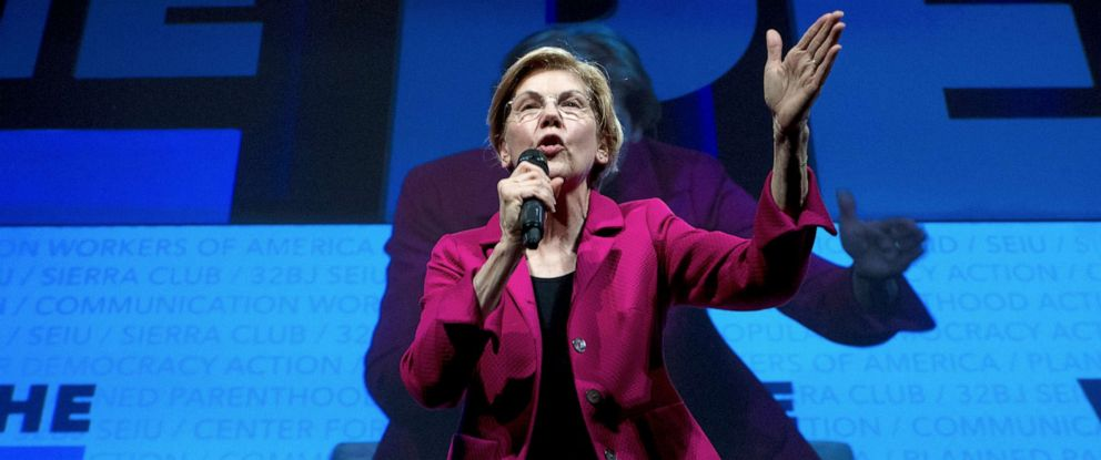 PHOTO: In this April 1, 2019, file photo, Democratic presidential candidate Sen. Elizabeth Warren, speaks in Washington.