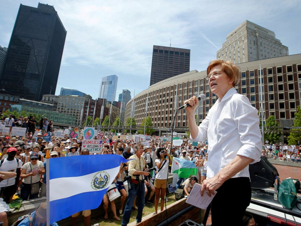 PHOTO: In this June 30, 2018, file photo, Sen. Elizabeth Warren, D-Mass., speaks during a rally in Boston. Sen. Elizabeth Warren is taking the first major step toward running for president.