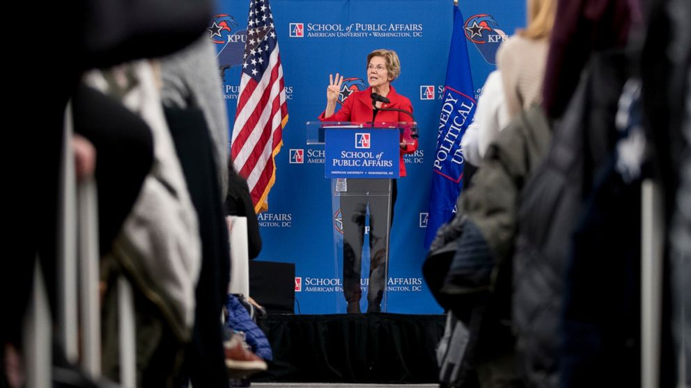 In this Nov. 29, 2018, file photo, Sen. Elizabeth Warren, D-Mass., speaks at the American University Washington College of Law in Washington, on her foreign policy vision for the country.