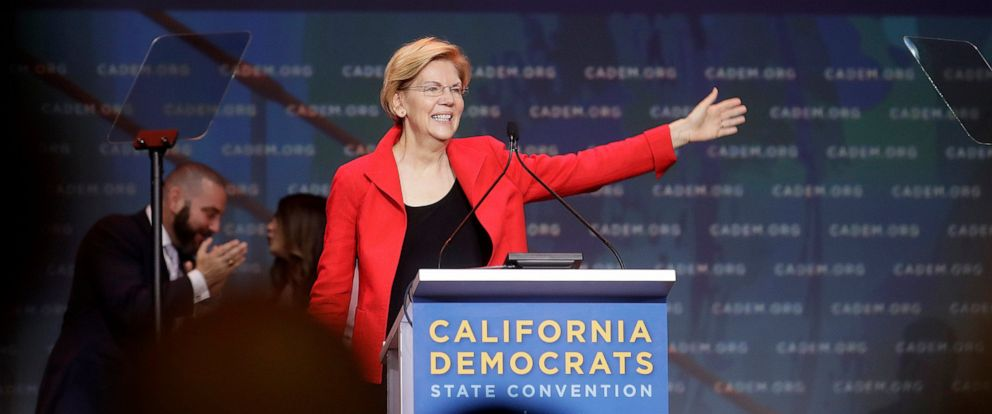 PHOTO: Democratic presidential candidate Sen. Elizabeth Warren, D-Mass., waves before speaking during the 2019 California Democratic Party State Organizing Convention in San Francisco, Saturday, June 1, 2019.