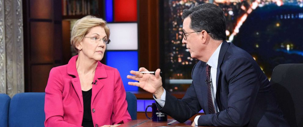 PHOTO: The Late Show with Stephen Colbert and guest Sen. Elizabeth Warren, Sept. 17, 2019.