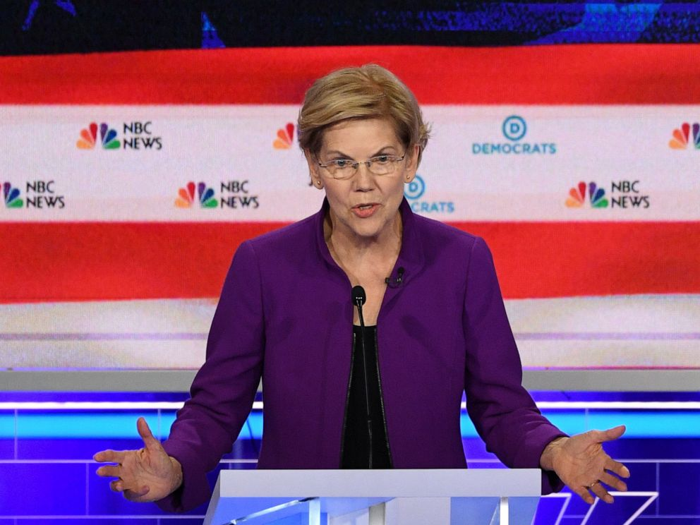 PHOTO: Elizabeth Warren participates in the first Democratic primary debate hosted by NBC News at the Adrienne Arsht Center for the Performing Arts in Miami, Florida, June 26, 2019.