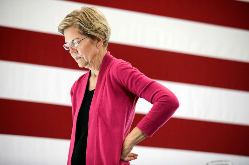 PHOTO: Democratic presidential candidate Sen. Elizabeth Warren, D-Mass., listens to a question during the question and answer part of her campaign event at the University of New Hampshire in Durham, N.H., Oct. 30, 2019,
