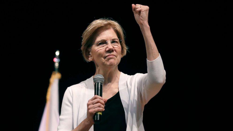 Sen. Elizabeth Warren gestures during a town hall style gathering in Woburn, Mass., Aug. 8, 2018.