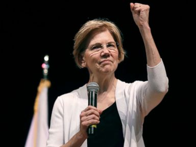 PHOTO: Sen. Elizabeth Warren gestures during a town hall style gathering in Woburn, Mass., Aug. 8, 2018.
