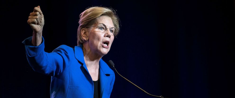 PHOTO: Sen. Elizabeth Warren addresses the crowd at the 2019 South Carolina Democratic Party State Convention, June 22, 2019, in Columbia, South Carolina.