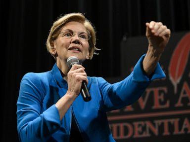 PHOTO: Sen. Elizabeth Warren speaks at the Frank LaMere Native American Presidential Forum, Aug. 19, 2019, in Sioux City, Iowa.