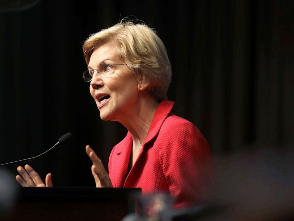 PHOTO: Democratic presidential candidate U.S. Sen. Elizabeth Warren speaks at the National Action Networks annual convention on April 5, 2019 in New York City.
