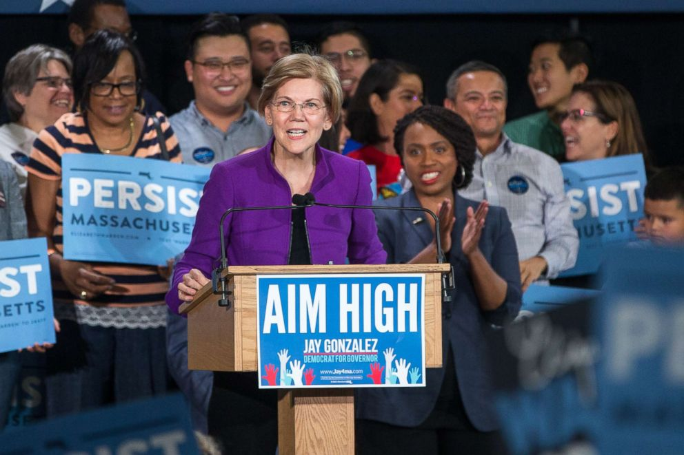 PHOTO: Sen. Elizabeth Warren speaks at a rally held for Democratic gubernatorial candidate Jay Gonzalez and congressional Democratic candidate Ayanna Pressley, Sept. 9, 2018, in Cambridge, Mass.