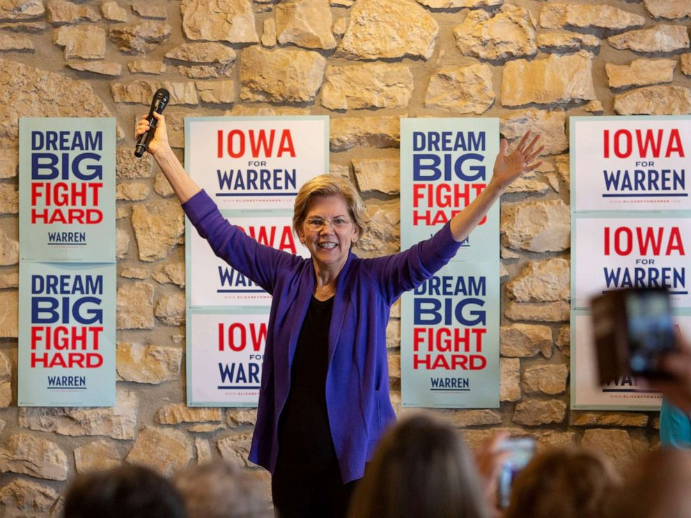 PHOTO: 2020 presidential candidate Sen. Elizabeth Warren acknowledges the crowd as she arrives to speak during a campaign event at Fat Hill Brewing in Mason City, Iowa on May 3, 2019.
