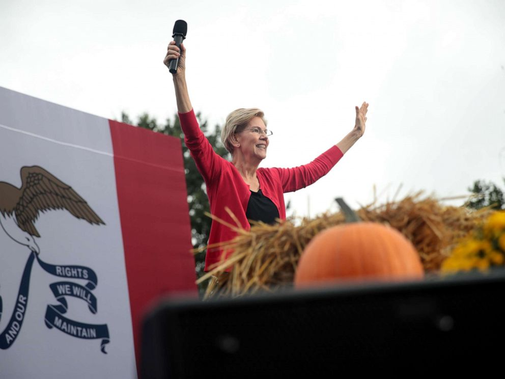 PHOTO: Democratic presidential candidate, Sen. Elizabeth Warren speaks at the Polk County Democrats Steak Fry on Sept. 21, 2019, in Des Moines, Iowa.