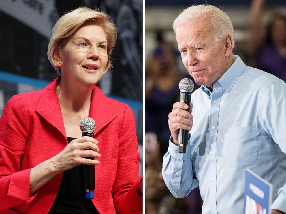 PHOTO: Elizabeth Warren speaks onstage at the MoveOn Big Ideas Forum, June 1, 2019, in San Francisco, Calif.| Joe Biden addresses a crowd, May 4, 2019, in Columbia, S.C.
