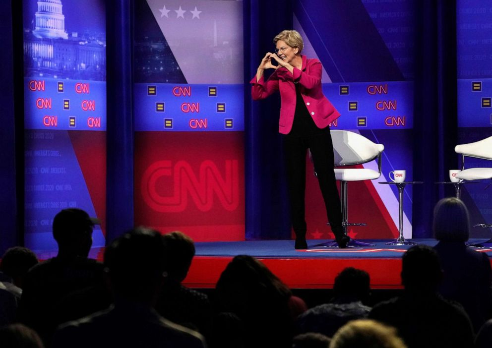 PHOTO: Democratic 2020 U.S. presidential candidate Sen. Elizabeth Warren, D-Mass., gestures during a televised town hall on CNN dedicated to LGBTQ issues in Los Angeles on Oct. 10, 2019.