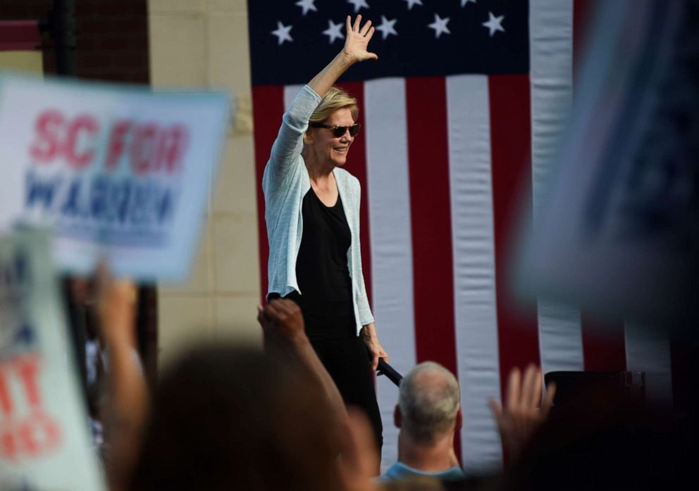 PHOTO: Democratic presidential hopeful Sen. Elizabeth Warren of Massachusetts wraps up a campaign event in Rock Hill, S.C., Saturday, Sept. 28, 2019.