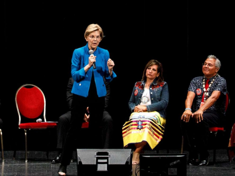 PHOTO: Sen. Elizabeth Warren takes questions from a panel during a presidential forum on Native American issues in Sioux City, Iowa, Aug. 19, 2019.