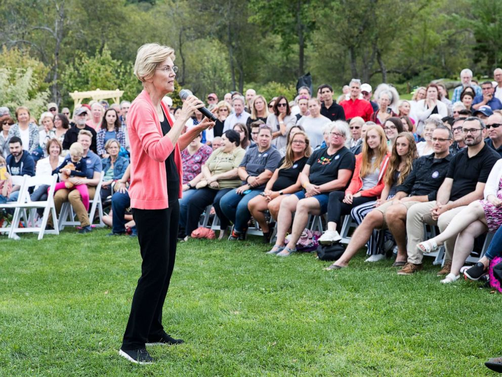PHOTO: Sen. Elizabeth Warren speaks to a crowd at a Labor Day house party, Sept. 2, 2019, in Hampton Falls, New Hampshire.