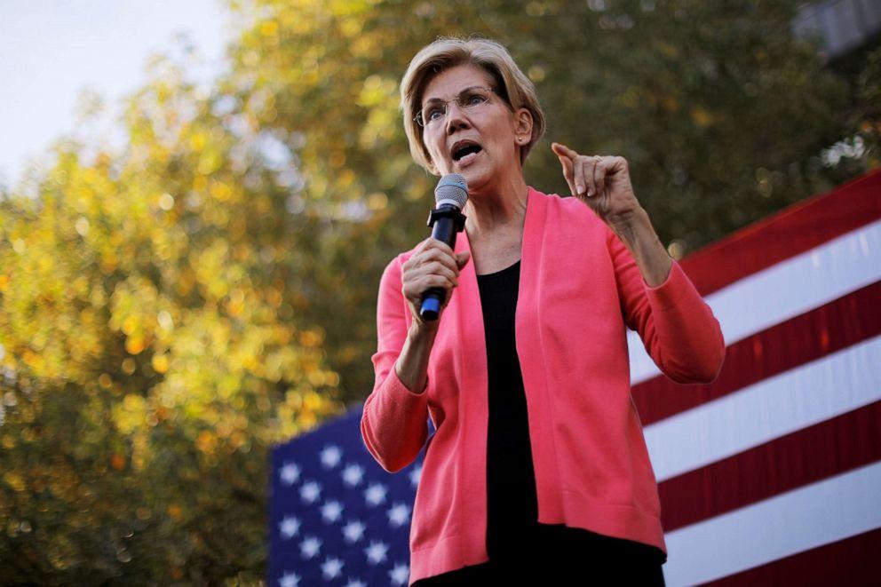 PHOTO: Democratic 2020 U.S. presidential candidate and U.S. Senator Elizabeth Warren (D-MA) speaks at a campaign rally at Keene State College in Keene, New Hampshire, Sept. 25, 2019.