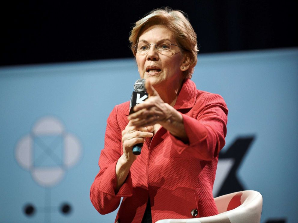 PHOTO: Senator Elizabeth Warren speaks about her policy ideas with Anand Giridharadas at the South by Southwest (SXSW) conference and festivals in Austin, Texas, March 9, 2019.
