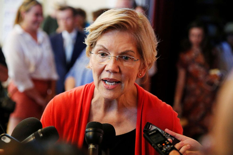 PHOTO: Democratic 2020 U.S. presidential candidate Sen. Elizabeth Warren speaks to members of the media during a town hall at the Peterborough Town House in Peterborough, N.H., July 8, 2019.