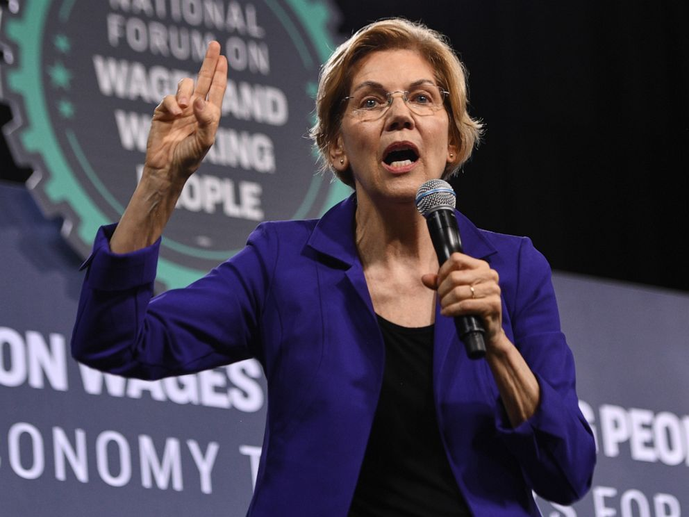 PHOTO: Sen. Elizabeth Warren, a Democrat from Massachusetts and 2020 presidential candidate, speaks during the National Forum on Wages and Working People in Las Vegas, April 27, 2019.