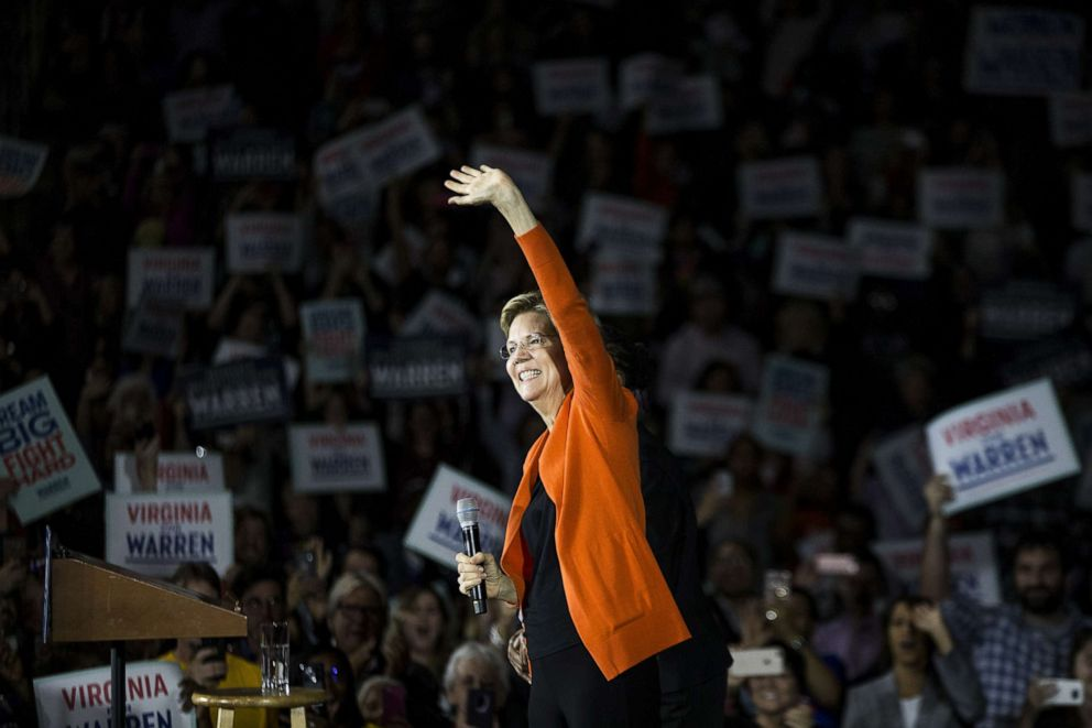Warren opens up 7-point lead over Biden nationally