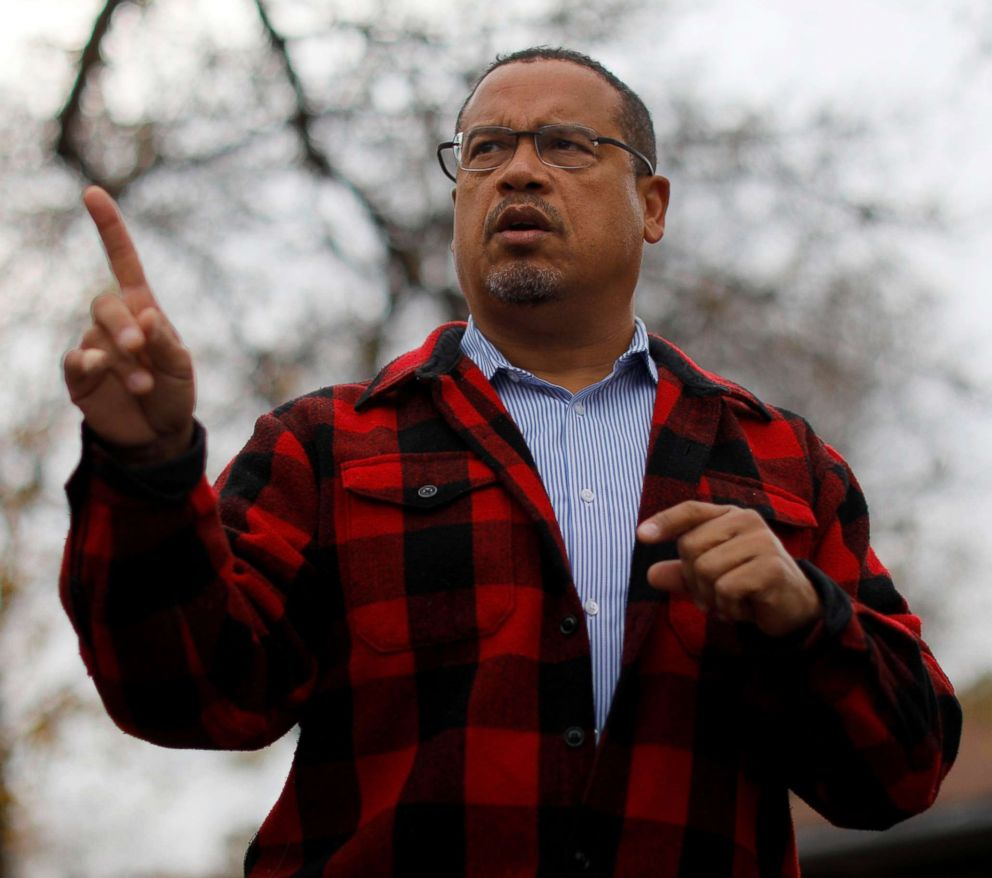PHOTO: Democratic candidate for state Attorney General Keith Ellison speaks to campaign volunteers in Minneapolis, Oct. 27, 2018.