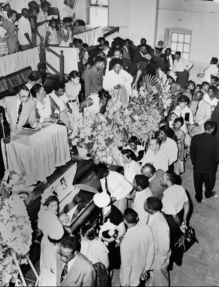 PHOTO: Mourners pass Emmett Tills casket in Chicago Sept. 3, 1955. Till was a fourteen year old boy who was kidnapped, tortured and lynched for whistling at a white woman in Mississippi by a white mob.