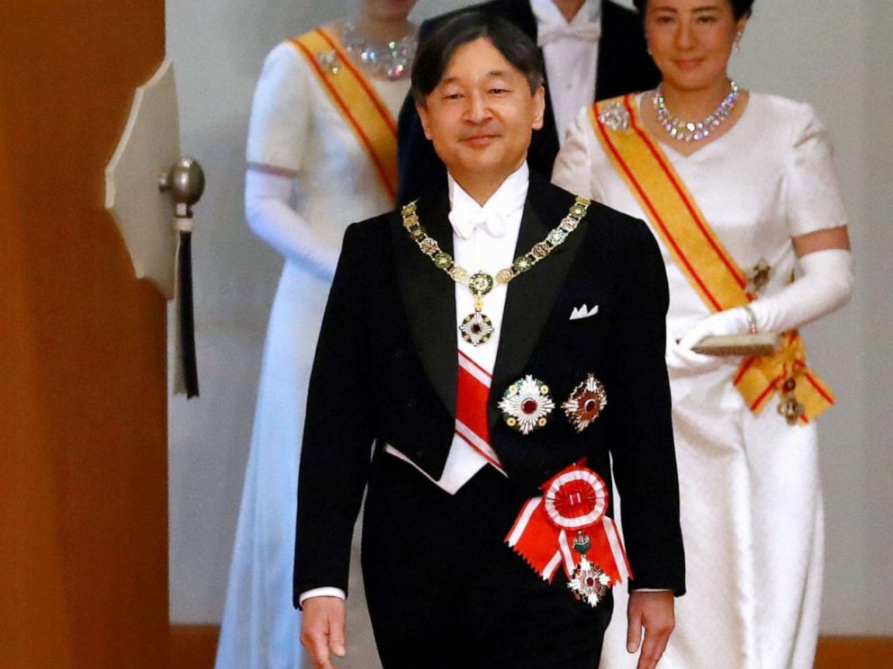 PHOTO: New Emperor Naruhito, Empress Masako, Crown Prince Akishino and Crown Princess Kiko of Akishino enter the Matsu-no-Ma hall after his accession to the Chrysanthemum Throne at the Imperial Palace on May 1, 2019, in Tokyo, Japan.