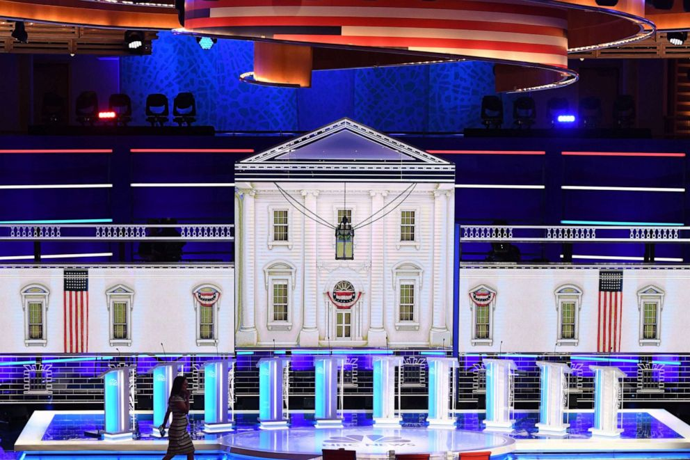 PHOTO: The stage is seen prior to the second Democratic primary debate of the 2020 presidential campaign season hosted by NBC News at the Adrienne Arsht Center for the Performing Arts in Miami, Florida, June 27, 2019.
