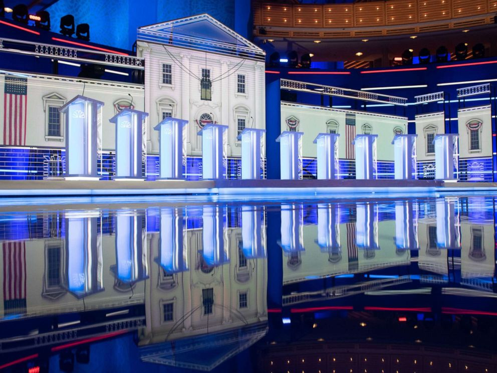 PHOTO: The stage is seen prior to the first Democratic primary debate of the 2020 presidential campaign season at the Adrienne Arsht Center for the Performing Arts in Miami, June 26, 2019.