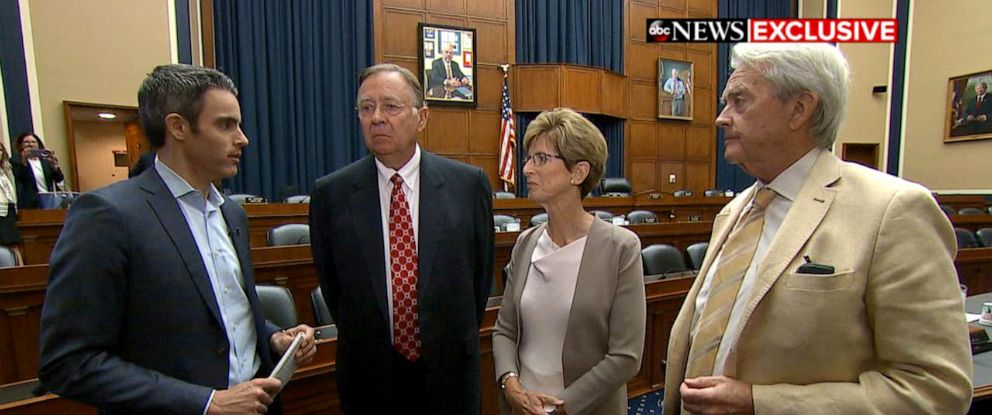 PHOTO: ABC News Senior Washington Reporter Devin Dwyer, left, interviews three Republican former EPA administrators, Lee Thomas, Christine Todd Whitman and William Reilly, on Capitol Hill.