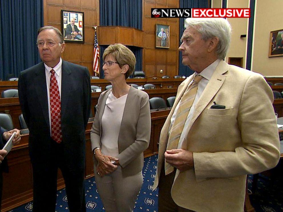 PHOTO: ABC News Senior Washington Reporter Devin Dwyer, left, interviews three Republican former EPA administrators, Lee Thomas, Christine Todd Whitman and William Reilly, on Capitol Hill.