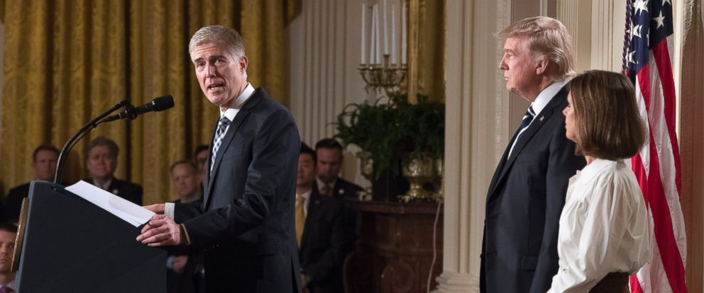 PHOTO: Judge Neil Gorsuch delivers remarks after President Donald J. Trump announced his nomination to the Supreme Court in the East Room of the White House, Jan. 31, 2017. At right is Gorsuchs wife Marie Louise.