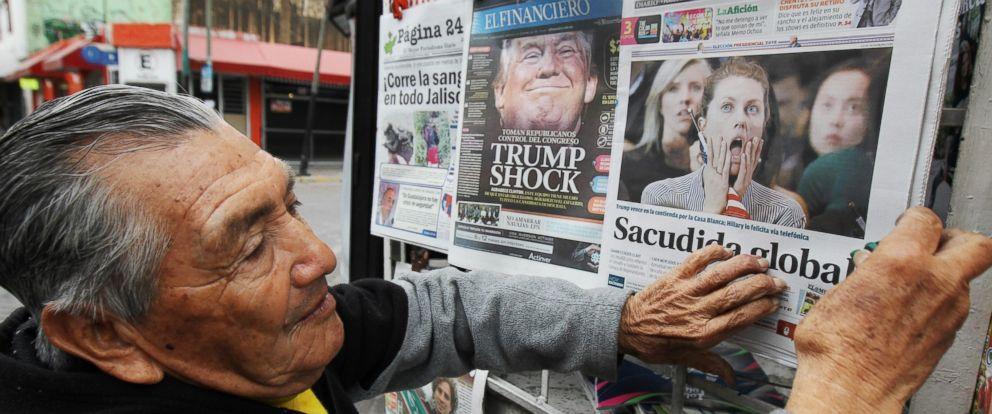 PHOTO: A man sells newspapers in Guadalajara, Mexico, Nov. 9, 2016.