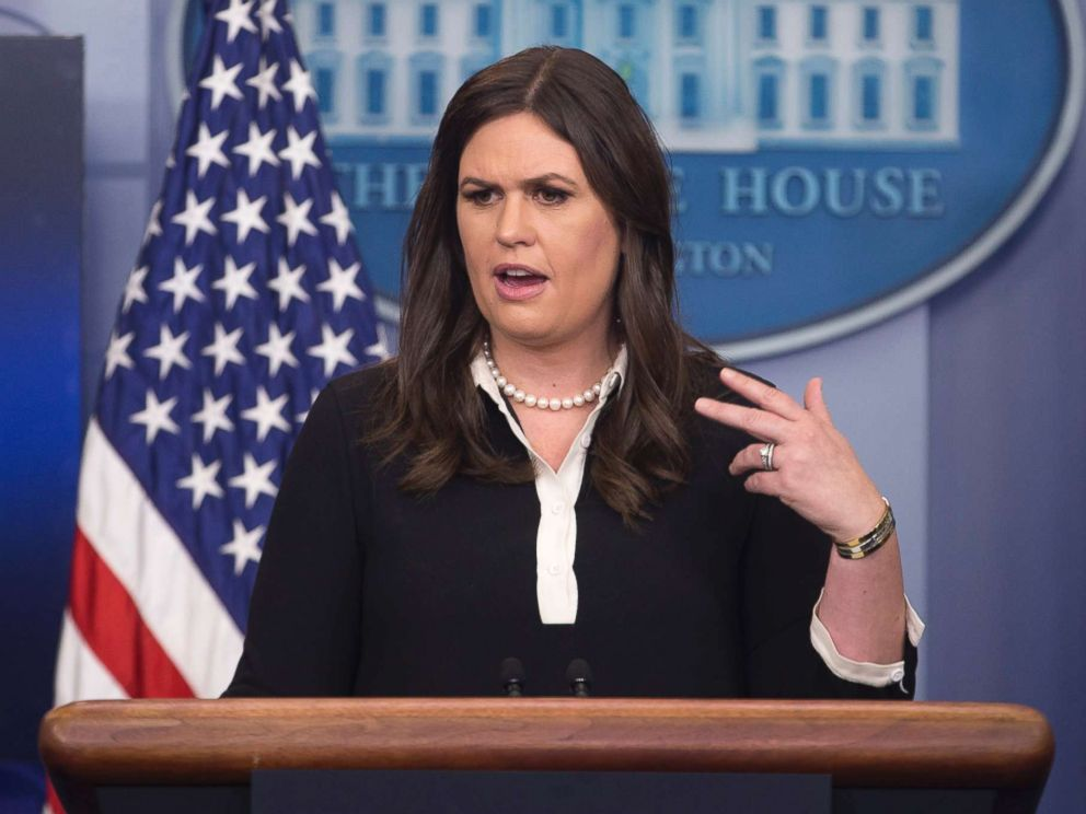 PHOTO: White House Deputy Press Secretary Sarah Huckabee Sanders speaks during a news conference in which she defended President Trump after he wrote a widely-criticized tweet mocking Mika Brzezinski, in Washington, June 29, 2017.