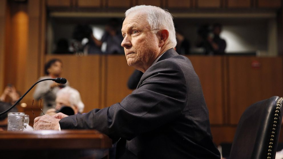 Attorney General Jeff Sessions is seated before the Senate Intelligence Committee to testify on the FBI's investigation into the Trump administration and its possible collusion with Russia during the campaign, in the Hart Senate office Building in Washington, D.C., June 13, 2017.