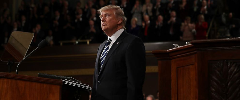 PHOTO: President Donald Trump delivers his first address to a joint session of Congress, Feb. 28, 2017.