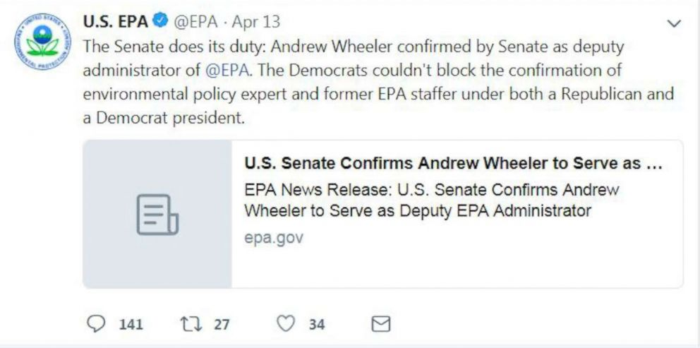 PHOTO: In an April 13, 2017 tweet the EPA seemed to attack Democrats for criticism of its nominee for deputy administrator.