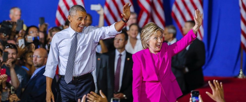PHOTO: Presidential candidate Hillary Clinton appears at a campaign rally with President Barack Obama at the Charlotte Convention Center in Charlotte, North Carolina, July 5, 2016.