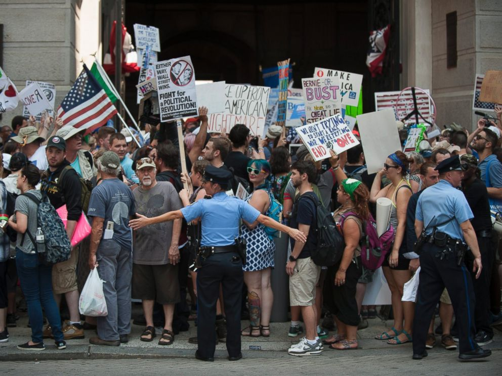 PHOTO: Police are on the street as protesters rally in support of Vermont Senator Bernie Sanders at City Hall, on the first day of the Democratic National Convention, held at the Wells Fargo Center in Philadelphia, July 25, 2016