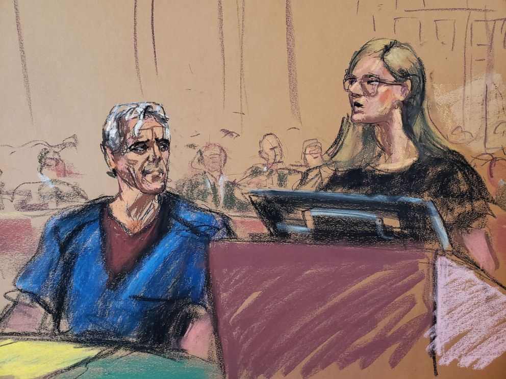 PHOTO: Annie Farmer (R) speaks as Jeffrey Epstein looks on during a a bail hearing in financier Jeffrey Epsteins sex trafficking case, in this court sketch in New York, July 15, 2019.