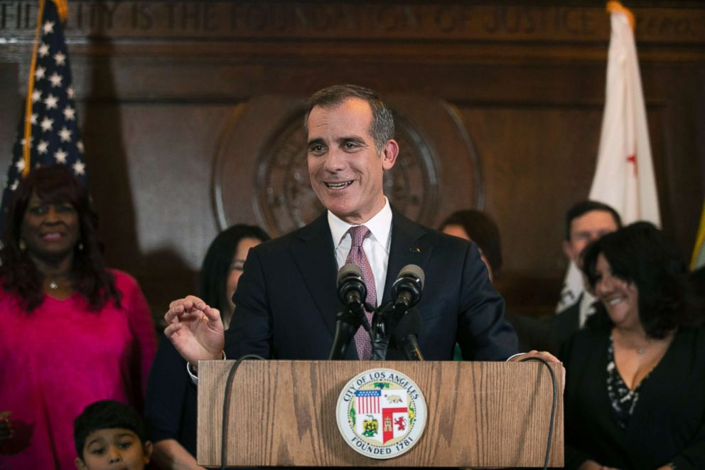 PHOTO: Los Angeles Mayor Eric Garcetti speaks during a news conference, Jan. 29, 2019, in Los Angeles.