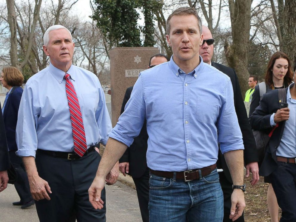 PHOTO: Vice President Mike Pence and Missouri Gov. Eric Greitens walk through the Chesed Shel Emeth Cemetery in University City, Mo., Feb. 22, 2017 in this file photo.