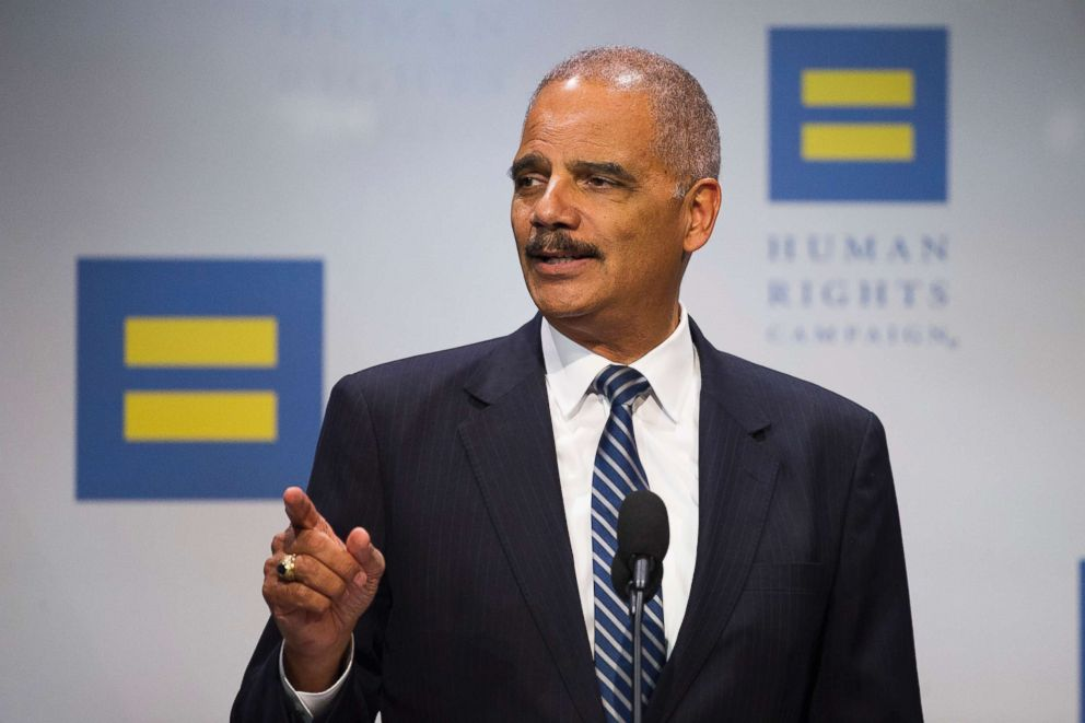 PHOTO: Former Attorney General Eric Holder addresses the Human Rights Campaign National Dinner in Washington, D.C., Sept. 15, 2018.