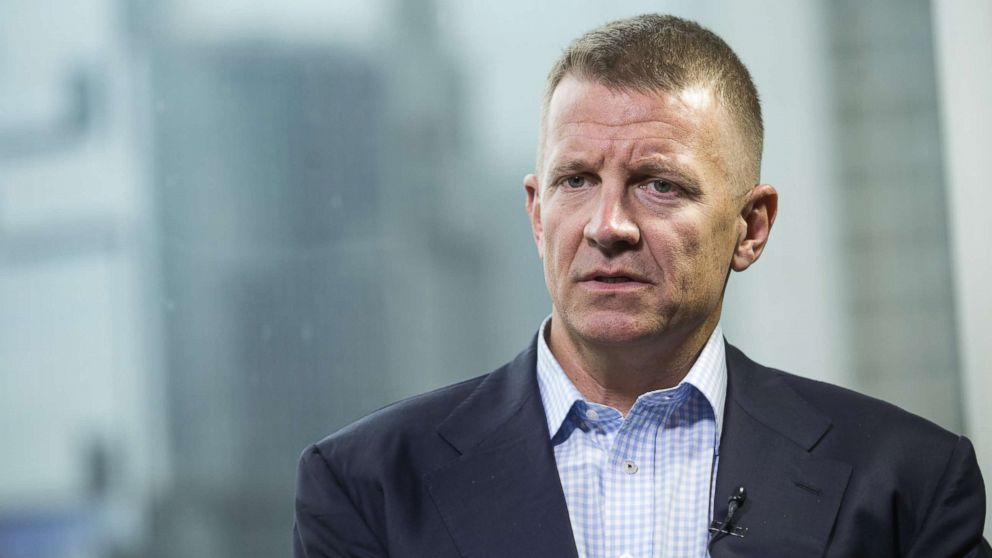 Erik Prince, chairman of Frontier Services Group Ltd., speaks during a Bloomberg Television interview in Hong Kong, China, on March 16, 2017.