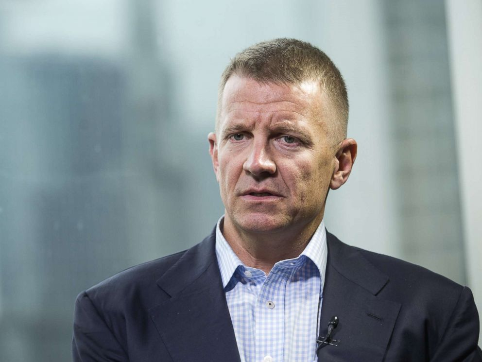 PHOTO: Erik Prince, chairman of Frontier Services Group Ltd., speaks during a Bloomberg Television interview in Hong Kong, China, on March 16, 2017.