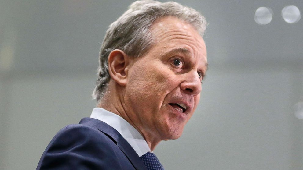 New York Attorney General Eric Schneiderman speaks at a news conference in New York, Sept. 6, 2017.