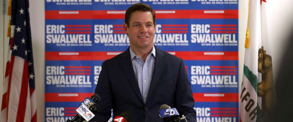 PHOTO: Democratic presidential candidate Rep. Eric Swalwell, D-CA, speaks during a press conference at his campaign headquarters where he announced that he is dropping out of the presidential race on July 08, 2019 in Dublin, Calif.